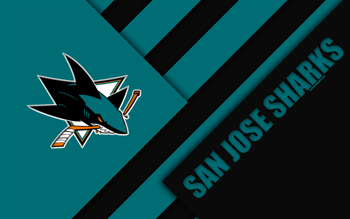 San Jose Sharks NHL 4k Material Design Logo Blue Black Abstraction
