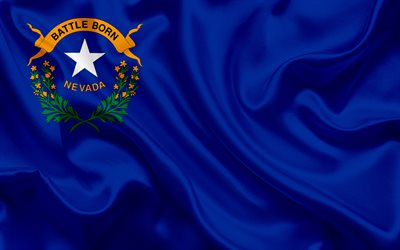 Flag of Nevada, blue silk flag, coat of arms, silk texture, Nevada, USA