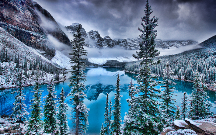 Download Wallpapers Moraine Lake Winter Banff Hdr Blue