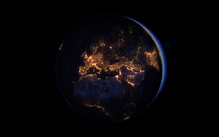 Earth, planet at night, city lights from space, solar system