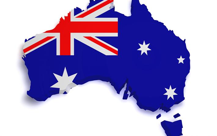 Download Wallpapers 3d Map Of Australia, 3D Art, Continent