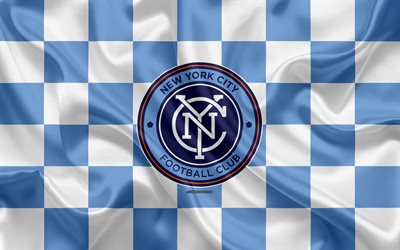 new york city fc, 4k, logo, kunst, blau und weiß karierten flagge, american soccer club, mls, emblem, seide textur, new york, usa, fußball, major league soccer