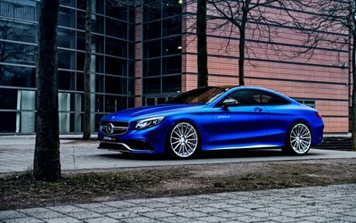 Mercedes S-Class Coupe, 2017, AMG, C217, blue Mercedes, tuning S-Class, sport car