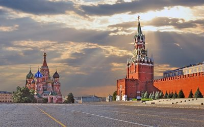 morning, Moscow, Red Square, the Kremlin, Saint Basils Cathedral, Russia, Russian Federation
