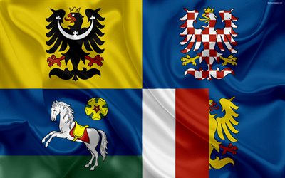 Flag of the Moravian Silesian Region, silk flag, 4к, official symbols, flags of administrative units, Czech Republic, Moravian-Silesian Region