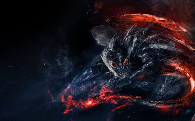 fire dragon, volcano, fire, heat, smoke, creative dragons, lava