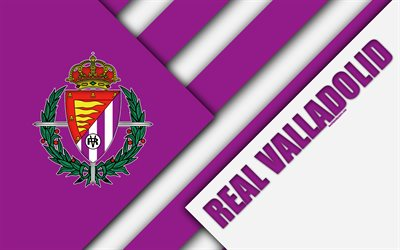 Real Valladolid CF, 4k, material design, Spanish football club, purple white abstraction, logo, Valladolid, Spain, Segunda Division, football