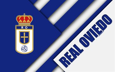 Real Oviedo FC, 4k, material design, Spanish football club, blue white abstraction, logo, Oviedo, Spain, Segunda Division, football
