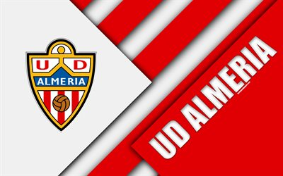 UD Almeria, 4k, material design, Spanish football club, white red abstraction, logo, Almería, Spain, Segunda Division, football, Almeria FC