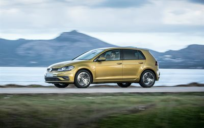 Volkswagen Golf VII, 2018, hatchback, new gold Golf, popular cars, 4k, Volkswagen