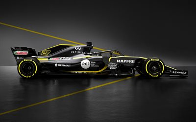 Renault RS18, 2018, Formula1, new racing car, exterior, side view, new pilot protection, cockpit protection, F1, Renault