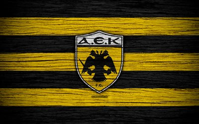 AEK FC, 4k, wooden texture, Greek Super League, soccer, football club, AEK, Greece, AEK Athens, logo, FC AEK