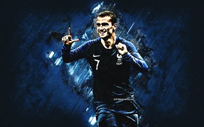Antoine Griezmann, France national football team, striker, joy, blue stone, 7th number, portrait, famous footballers, football, french footballers, grunge, France, Griezmann