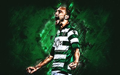 Bas Dost, Sporting FC, forward, joy, goal, green stone, portrait, famous footballers, football, dutch footballers, grunge, Scotland