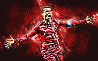 Cristiano Ronaldo, Portugal national football team, number 7, forward, joy, goal, red stone, portrait, world football star, CR7, famous footballers, football, Portuguese footballers, grunge, Portugal, Ronaldo