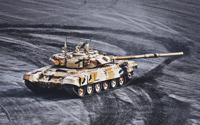 T-90, dust, tanks, Russian MBT, Russian Army, T-90 Vladimir, sand camouflage, armored vehicles