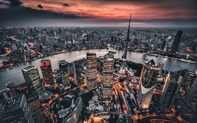 Shangai, 4k, sunset, modern buildings, HDR, cityscapes, morning, Asia, China