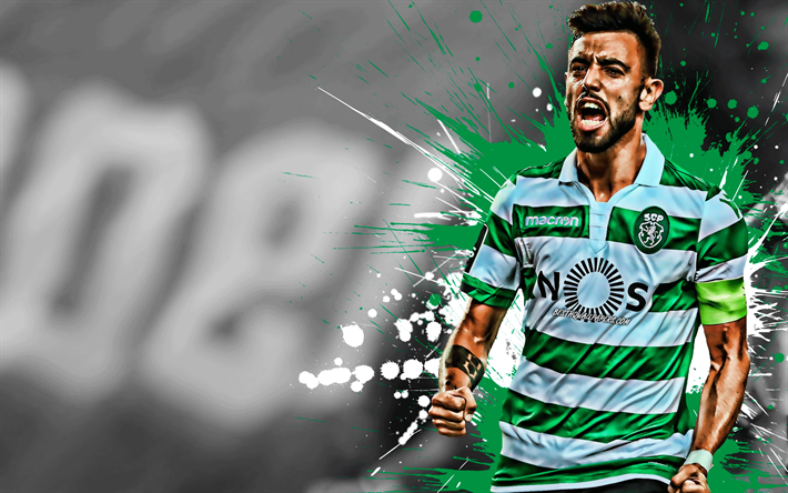 Download Wallpapers Bruno Fernandes, 4k, Portuguese