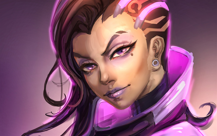4k, Sombra, portrait, Overwatch characters, cyber warriors, 2018 games, shooter, Overwatch, Reaper and Sombra