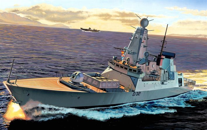 HMS Daring, D32, Daring-class, air-defence destroyer, British warship, Royal Navi, UK