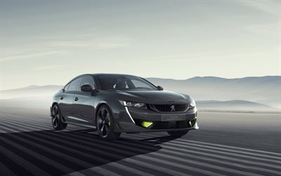 2019, Peugeot 508, Sport Engineering Concept, gray sports sedan, exterior, new gray 508, tuning, french cars, race track, Peugeot
