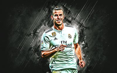 Gareth Bale, Real Madrid, forward, joy, goal, white stone, portrait, famous footballers, football, welsh footballers, grunge, La Liga, Spain