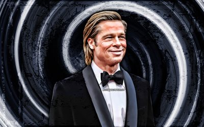 4k, Brad Pitt, gray grunge background, american actor, music stars, vortex, William Bradley Pitt, creative, Brad Pitt 4K