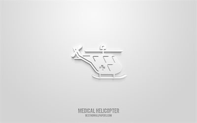 Medical helicopter 3d icon, white background, 3d symbols, Medical helicopter, Medicine icons, 3d icons, Medical helicopter sign, Medicine 3d icons