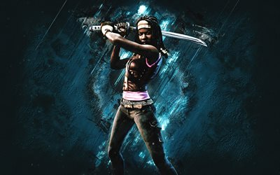 Fortnite Michonne Skin, Fortnite, main characters, blue stone background, Michonne, Fortnite skins, Michonne Skin, Michonne Fortnite, Fortnite characters