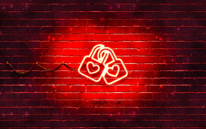 Love couple neon icon, 4k, red background, neon symbols, Love couple, neon icons, Love couple sign, food signs, Love couple icon, food icons