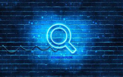 Search neon icon, 4k, blue background, neon symbols, Search, neon icons, Search sign, computer signs, Search icon, computer icons