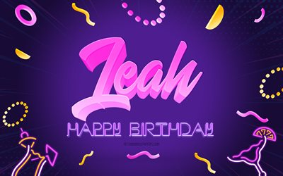 Happy Birthday Leah, 4k, Purple Party Background, Leah, creative art, Happy Leah birthday, Leah name, Leah Birthday, Birthday Party Background