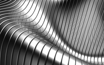 4k, 3D metal waves, metal wavy background, metal textures, geometric patterns, waves textures, background with waves, 3D textures