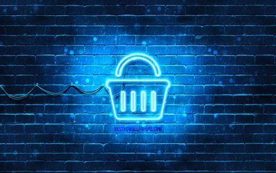 Basket neon icon, 4k, blue background, neon symbols, Basket, creative, neon icons, Basket sign, shopping signs, Basket icon, shopping icons