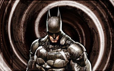 4k, Batman, sfondo marrone grunge, Batman Arkham Knight, vortice, DC Comics, supereroi, Batman 4K