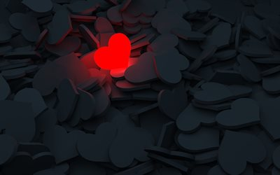 red glowing heart, red light heart, 3d red heart, 3d heart background, red heart on black heart background, 3d love background