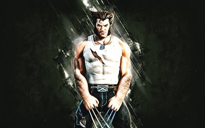 Fortnite Wolverine Logan Skin, Fortnite, main characters, gray stone background, Wolverine Logan, Fortnite skins, Wolverine Logan Skin, Wolverine Logan Fortnite, Fortnite characters, Wolverine