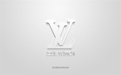 Louis Vuitton logo, white background, Louis Vuitton 3d logo, 3d art, Louis Vuitton, brands logo, white 3d Louis Vuitton logo