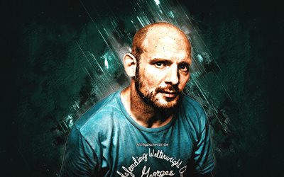 Mac Lethal, American rapper, David McCleary Sheldon, turquoise stone background, creative art, popular singers