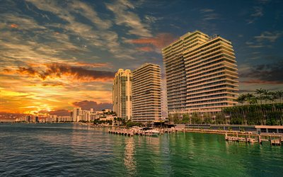 Miami, evening, sunset, coast, ocean, bay, buildings, Miami cityscape, Miami skyline, Florida, USA