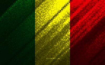 Flag of Mali, multicolored abstraction, Mali mosaic flag, Mali, mosaic art, Mali flag