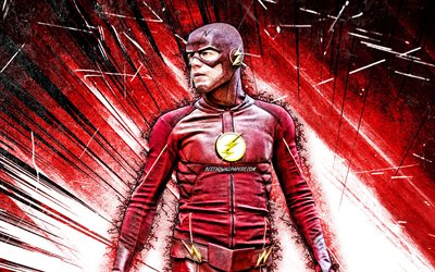 4k, The Flash, arte grunge, supereroi, Marvel Comics, raggi astratti rossi, The Flash 4K, Flash
