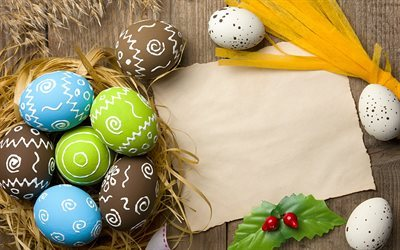 Easter eggs, spring, wooden background, Easter