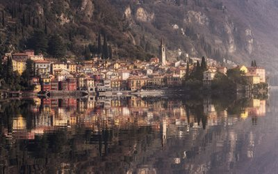 Varenna, Lombardy, lake, reflections, Lecco, Italy