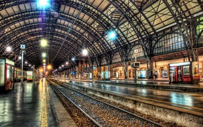 Milan, Train, railway station, HDR, night, railroad, Italy