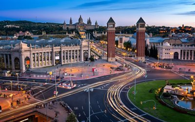 Barcelona, Venetian columns, Plaza of Spain, Montjuic, Spain, towers, architecture