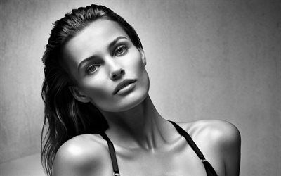 Edita Vilkeviciute, Portrait, monochrome, beautiful woman, make-up