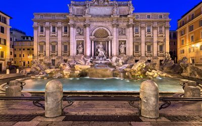 Trevi Fountain, Rome, Sculpture, Italy, evening, Rome sights