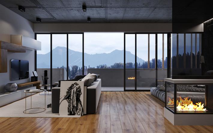 Herunterladen hintergrundbild 4k, wohnzimmer, kamin, glasfenster ...
