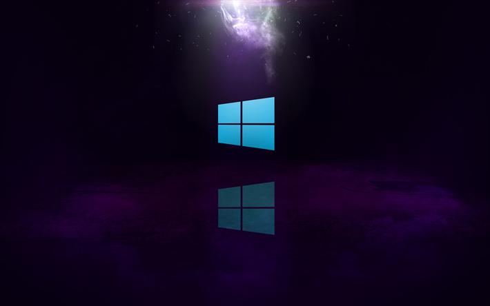 download wallpapers 4k windows 10 purple background windows logo